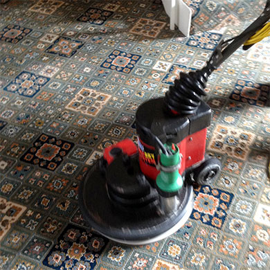 carpet cleaning using rotary bonnet carpet cleaners in Dorset